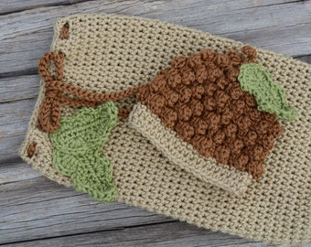 Crochet Acorn Hat and Snuggle Sack, Baby Acorn Hat, Acorn Snuggle Sack, Crochet Acorn Beanie, Photo Prop