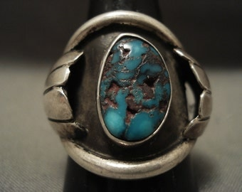 Huge And Very Old Navajo Red Mountain Turquoise Silver Ring