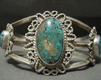 Early Vintage Navajo Royston Turquoise Silver Burst Bracelet Old