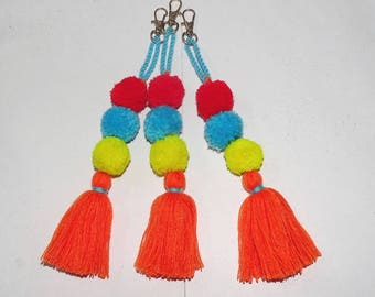 Bag charm/Tassel and pompom bag charm/decorative charms