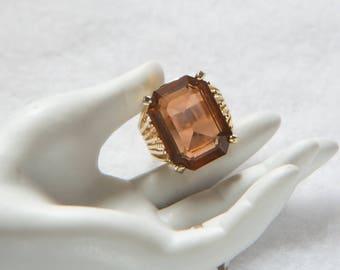 Emerald Cut Topaz Ring Large Glass Size 8 Vintage Retro Estate Sale Jewelry w/ Box Gold Tone 1980s