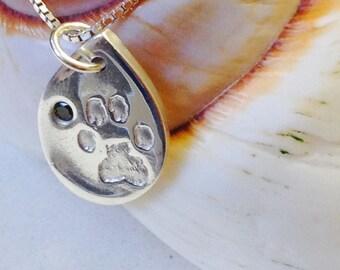 Paw print pendant, hand print pendant, including gem. Pet lovers dream item, doggy paw prints, memorial pet jewellery. I love my dog/cat