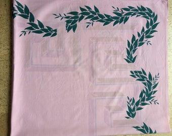Vintage Green Leaf And Greek Key Tablecloth