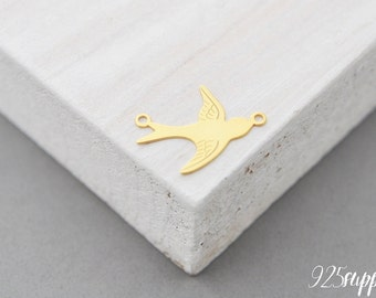 925 Sterling Silver swallow gold plated, swallow pendant, swallow charms, swallow, swallow silver, bird silver, bird pendant,