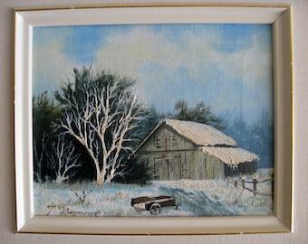 Vintage Oil Painting on Board, Winter Scene Landscape, signed T. Seymour