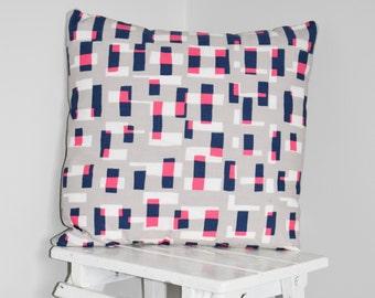Contemporary Grey & Fuchsia Geometric Print Cushion