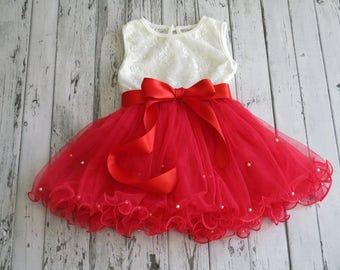 Red flower girl dress,red tulle dress,Girls red dress,white lace dress,Party dress,Birthday dress,wedding,pageant dress,red tutu dress
