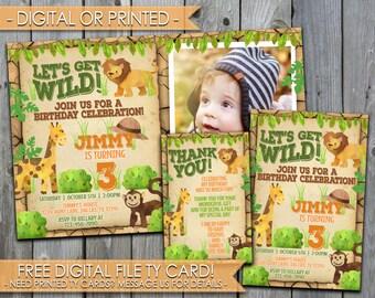 Safari Birthday Invitation, Let's Get Wild Birthday Invitation, Safari Party Invitation, Lion, Giraffe, Monkey, Boy Birthday Invitation #422