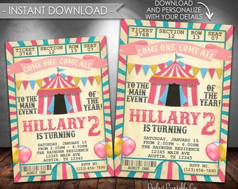 Carnival Invitation, Carnival Birthday Invitation, Circus Invitation, Circus Birthday Invitation, Pink Girl, Instant Download, Editable #552