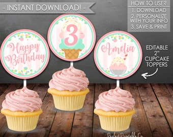Ice Cream Cupcake Toppers, Popsicle Cupcake Toppers, Birthday Party Cupcake Toppers, Pink Mint, Instant Download, Editable #636