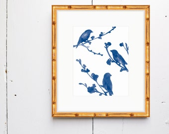 3 Little Birds Watercolor Print - SMc. Originals, watercolor painting, rustic, modern, original artwork, series, watercolor print, bird art