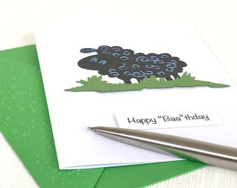 "Sheep Happy ""Baa"" thday Card - Sheep Birthday Card - Handmade Birthday Card - Sheep Card - Greeting Card"