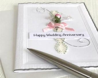 Wedding Anniversary Card - Anniversary Card - Happy Anniversary - Handmade Card  - Rose Anniversary Card