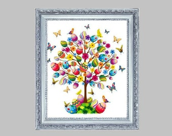 BUY 2, GET 1 FREE! Happy Easter Tree of Life 082 Cross Stitch Pattern Counted Cross Stitch Chart, Pdf Format, Instant Download/148165