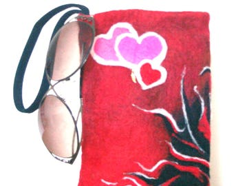 Felted Pouch, Wristlet, Fire and Hearts Clutch, Needle Felted Pouch, Designer Pouch, Camera Carrier, One Only Made, One of a Kind