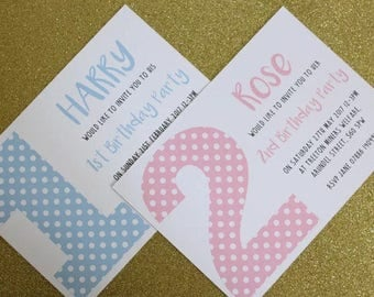 Personalised Girls Boys Polkadot 1st 2nd 3rd 4th 5th Birthday Party A6 Invitations & Envelopes x10