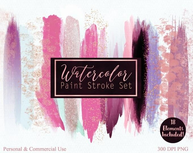 WATERCOLOR PAINT STROKE Clip Art Commercial Use Clipart Watercolour Blog Headers Pink & Rose Gold Confetti Watercolor Blog Logo Clip Art