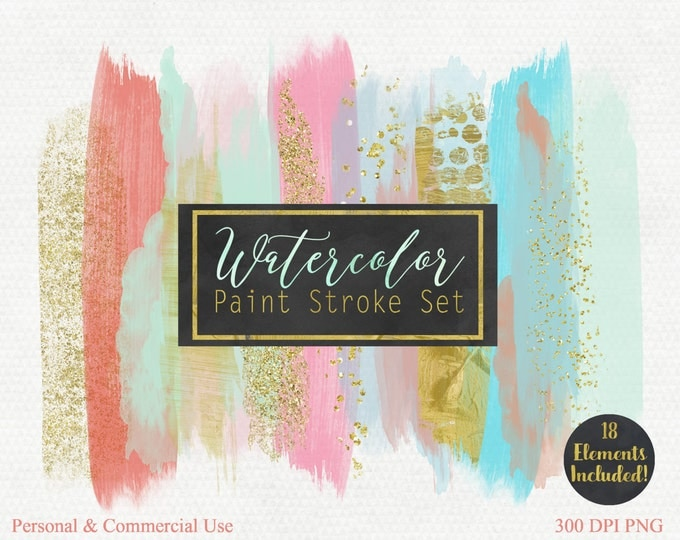 WATERCOLOR BRUSH STROKES Clipart Commercial Use Clip Art Watercolor Paint Blog Header Peach Blush Mint Gold Confetti Watercolor Logo Clipart