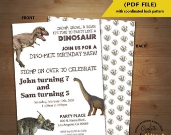Dinosaur Birthday Invitation dino party invite single or combined siblings party Instant Download YOU EDIT TEXT & print yourself invite 5519