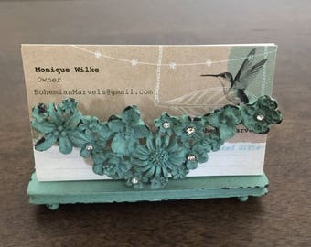 Shabby Cottage Chic Pewter Business Card Holder/group gift/boss/co-worker/friend gift