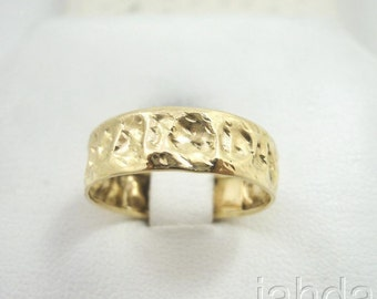 NEW Solid 14K Gold Handmade Deep Hammer Texture Band Ring 3.7 grams 6mm Size 9