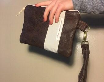 Handmade Brown Leather Wristlet set