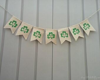 Shamrock Banner, St. Patrick's Day Banner, Shamrock Bunting, Shamrock Garland, Burlap Banner, Irish Decor, Shamrocks, Irish, Rustic