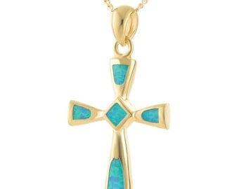 Cross Pendant, Opal Gemstone Necklace, Gold Cross Necklace, 14K Gold Plated Necklace, Cross Necklace, Christian Necklace, Opal Necklace