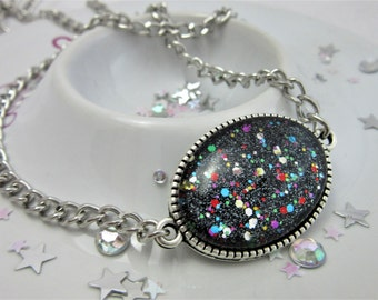 Night Circus, Black Rainbow Multicolour Glitter Oval Cabochon Necklace on 18.5 Inch Chain, Nail Varnish Necklace