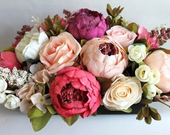 Artificial flower arrangement, faux flowers, mothers day, centerpiece, wedding flowers, home decor, gifts for her, wedding  centerpiece