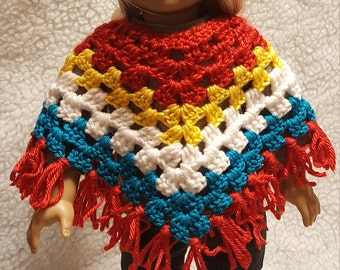 Red,Yellow,White,Turquoise crocheted Poncho with matching Hat