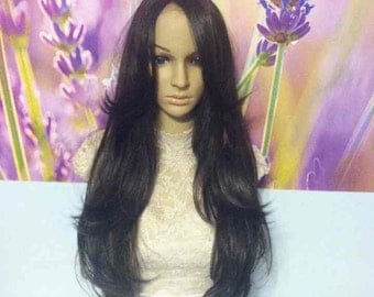 Dark brown human hair blend lace front wig 28''