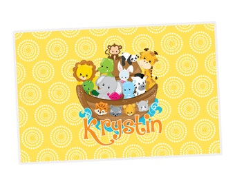 Personalized Noah's Ark Placemat - Yellow Polka Dots, Cute Animals, Fun Noah's Ark Personalized Laminated Placemat - Kids Personalized Gift