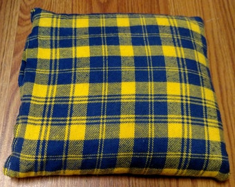 """Corn Heating Bag- Yellow and Blue Plaid-  Heating Pad- Ice Pack- Microwavable - Freezable- Approx 8"""" x 10"""""""