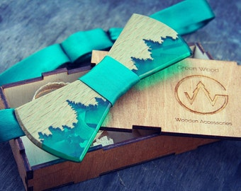 "Wooden Bow Tie ""GREENWOOD GreenWood.Wooden resinBow Tie. Wood Bowtie.  Resin Tie. Wooden Wedding BowTie"