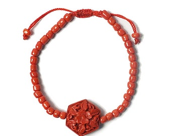 Dramatic Red Cinnabar Resin Floral Bracelet