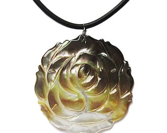 Mother of Pearl Floral Shell Cord Pendant Necklace