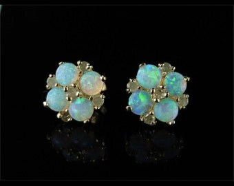 Stunning 1.60ct Opal Diamond Cluster Gold Stud Earrings