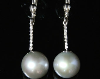 Long Diamond and Pearl Earrings White Gold With Silver