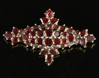Antique Victorian Garnet Gold Brooch Circa 1890