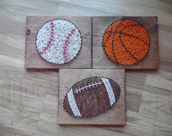 Sports String Art, Baseball String Art, Basketball String Art, Football String Art, Sports Art,