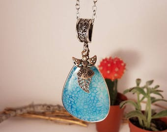 baby blue agate tear drop angelic necklace