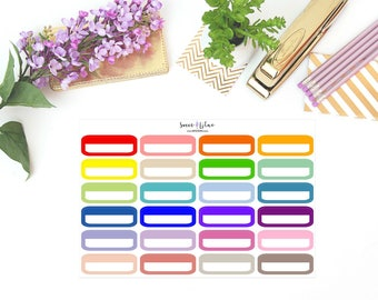 Quarter/Event Boxes (Rounded), Colour Block - Planner Stickers