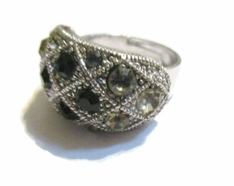 Rhinestone Ring, Black and Clear, ,Silver Tone, 1980s, Fashion,  Size 8,  Vintage Jewelry