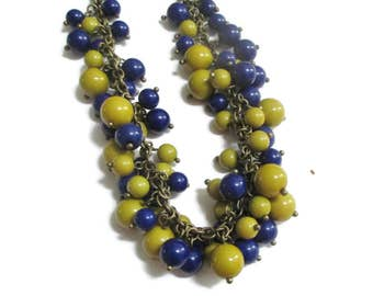 Avon Necklace, SAQ, Vintage Custer Beaded , Mustard Yellow, Cobalt Blue BrassTone, Signed, Long