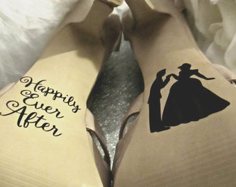 Disney Wedding Shoe Decals ~ Unique Bride and Groom Gift ~ Christmas Gift ~ Gift for Her ~ Best Day Ever ~ Personalized Wedding Decoration