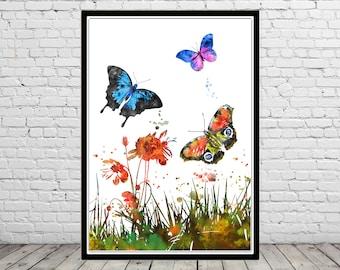 Flower and butterfly print, floral wall art, butterfly poster, nursery decor, nature art, flower print, butterfly print, garden(3021b)