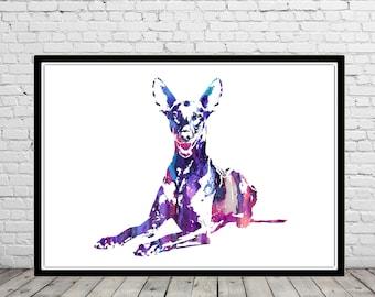 Pharaoh hound, watercolor Pharaoh hound, Pharaoh, animal print, animal art, dog, Kids Room Decor, Poster, wall art, print (3118b)