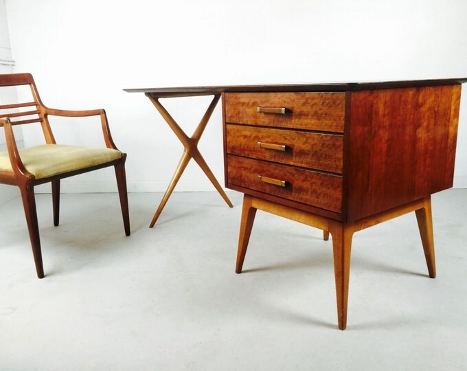 SOLD 6 Drawer Renzo Rutili Partner's Desk and Chair Mid Century Modern