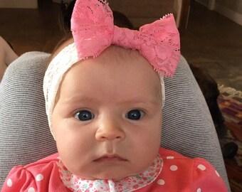 Lace Headband, Lace Bow Headband, Stretchy Lace, Baby Headband, Pink Lace, Bow, Baby Bow Heaband
